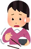 上伊那郡中川村で股関節痛で手に持っている箸を落としてしまう女性のイラスト